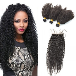$enCountryForm.capitalKeyWord Canada - Unprocessed Indian Afro Kinky Curly Human Hair Extensions 4*4 Silk Base Closure with 3 Bundles Curly Virgin Hair Weaves Closures FDSHINE