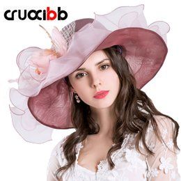Elegant Purple Hat Canada - Fashion New Design Flower Yarn Kentucky Derby Caps Women Sun Hat Summer Hat For Women Ladies Party Beautiful And Elegant Chapeu Feminino