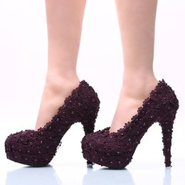 Size 11 Evening Shoes Australia - 5 8 11 14CM Heels Plus Size Purple Lace Bridal Bridesmaid Wedding Shoes Prom Evening Party High Heels Hand-made Cinderella Shoes 186