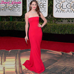 Red Hot Sexy Pictures NZ - Hot Sale Red Mermaid Prom Dresses Sexy Strapless Long Evening Gowns Ruched Celebrity Holiday African Simple Mermaid Party Gowns