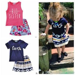 $enCountryForm.capitalKeyWord Australia - Ins Baby Clothing Sets Infant Letetr Print Outfits Girls Big Sister Tops Stripe Skirts Summer Letter T Shirt Tutu Dress Floral Tutu SkirtJ69