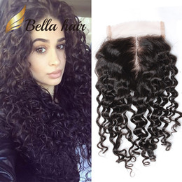 """Discount peruvian middle part closures - Brazilian Human HairPieces Ocean Wave Natural Color Raw Indian Virgin Hair 8~20inch Water Wave Top Lace Closure 4""""*"""