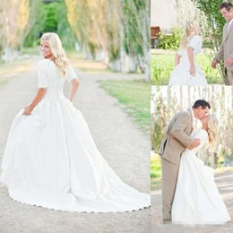 $enCountryForm.capitalKeyWord Canada - 2016 Modest Plus Size Wedding Dresses With Half Sleeves Full Lace Top Cheap Bohemian A-Line Court Train Satin Bridal Gowns Button Back