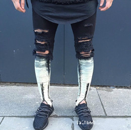tyga jeans NZ - Wholesale- Cool Ripped Zipper Jeans For Men Skinny Destroyed Famous Slim Brand Designer Hip Hop Swag Tyga Black White Patchwork biker Jeans