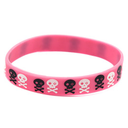 rubber bands glow UK - 1PC Printed Skull and Stars Logo Silicone Rubber Wristband Punk Style Hip Hop Band Adult Size