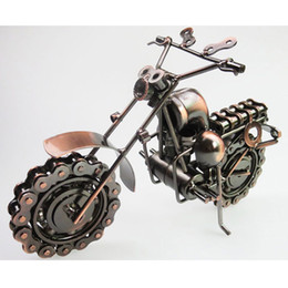 iron metal model motorcycles 2018 - Large Size HandMade iron art Bronze Color Retro Style Metal Harley Motorcycle Motorbike Autobike Model Toys For Kids Men