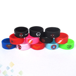 E protEction online shopping - Newest Vape Band Silicone Rings Colorful Decoration Protection Rubber Rings Deadpool Flash Hulk Logo Fit E Cigarette DHL Free