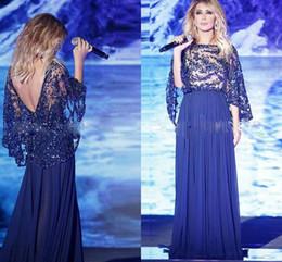 jacket for blue dress 2019 - Wholesale Pakistan Dubai Stunning Crystal Beaded Evening Dresses For Sale With Wrap Royal blue Chiffon Prom Dresses 2017