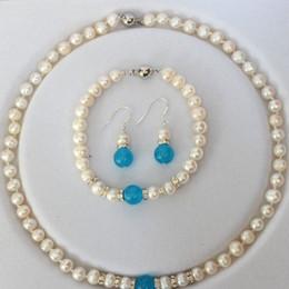 $enCountryForm.capitalKeyWord Australia - New 7-8mm White Pearl & blue aquamarine Necklace bracelet Earring Set 18