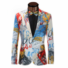 Color Painting Mens Blazer Fashion Suits For Men Top Quality Slim Fit Jacket Outwear Coat Costume Homme on Sale
