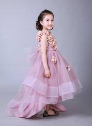 d6dff33fcd1 Высокое качество красивые румяна розовый длина пола маленькая девочка  театрализованное платье ручной работы цветок девушка платья день рождения  платье