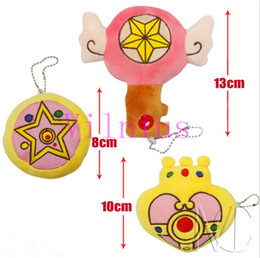 sailor moon charms UK - 5Pcs Lot Anime Sailor Moon Heart Plush Toys Pendants Keychains Stuffed Soft Dolls Plush Pendant Strap 10cm Approx Great Gift