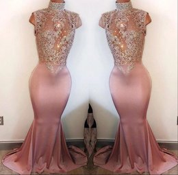 MerMaid proM dress white pearl sheer online shopping - Custom Sexy Dusty Pink Prom Dresses Mermaid High Neck Pearls Sleeveless Lace Appliques Beaded Crystals Vestidos De Fiesta Evening Gowns