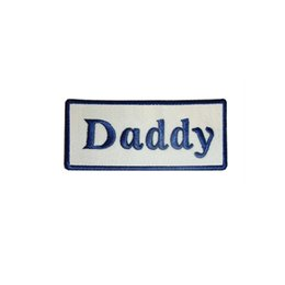 $enCountryForm.capitalKeyWord UK - DADDY NEW SEW ON   IRON ON NAME PATCH TAGS BLUE ON WHITE Stickers Appliques Fabric Sewing Badge Patches