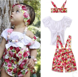 Girls Ruffle Pant Suits Canada - Baby Girls Ruffles Tops Floral Overalls Jumpsuits Overalls Suits Toddlers Kids Bow Tees Shirts Short Pants Children Overalls Clothing Sets