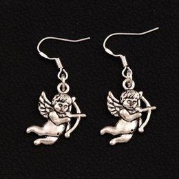 Earrings Ear angEls online shopping - Cupid Angel Earrings Silver Fish Ear Hook pairs Antique Silver Chandelier E107 x15 mm