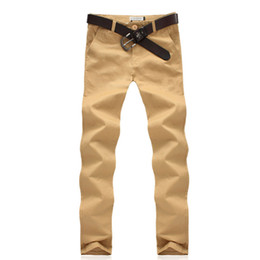 брюки чино  оптовых-New Casual Chino Khaki Men Pants Casual Fashion Clothing New Design High Quality Cotton Trousers for men
