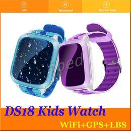 $enCountryForm.capitalKeyWord Canada - DS18 Smart Phone Watch Kid Wristwatch Anti-Lost GPS WiFi Tracker Clock For Kids SOS SIM Card Smartwatch For iOS Android Children cheap 20pcs