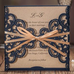 ribbon buckles for wedding invitations Canada - Wishmade Laser Cut Wedding Invitations Card With Ribbon Bowknot Lace Flower Design for Marriage Birthday Party,Customizable 50pcs