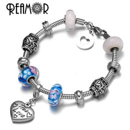 Discount love charm pendants gold - Wholesale- REAMOR 316l Stainless Steel True Love Letter Heart Pendants Blue & Pink Glass Spacer Beads DIY Snake Chains B