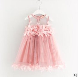 Style De Mariage Mignon Pas Cher-Flower Girls Dress 2017 Summer Tulle Petal Dress pour les filles Cute Princess Gauze Robes Robe de mariée Toddler Infant Party Clothes 534