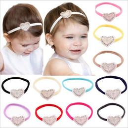 Babies Hair Wearing Headbands Australia - Baby Headbands Shiny Rhinestone Girls Kids Hand made Elastic Heart Shape Hairband Party Wear ChildrenHair Accessories KHA143