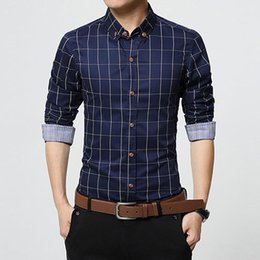 Barato Camisas Masculinas Xadrez Tamanho Maior-New Autumn Fashion Brand Men Clothes Slim Fit Men Camisa de manga comprida Men Plaid Algodão Casual Men Shirts Social Plus Size M-5XL