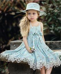 $enCountryForm.capitalKeyWord Australia - Kids Girls Lace Dress Baby Girls Flower Print Party Dresses Infant Princess Suspender TuTu Dress 2017 Summer Children Boutique Clothes B483