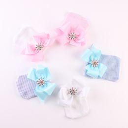 $enCountryForm.capitalKeyWord NZ - 0-6M Newborn Baby Crochet Stripe Hats with Big Grosgrain Bows Baby Girl Shiny Rhinestone Knitting Cotton Caps Autumn Winter Warm Cap 5 Color