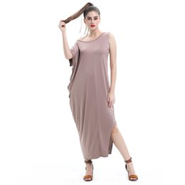 Pure Silk Clothing Canada - Big Size Women's Clothing New Irregular High Milk Silk Stretch Temperament Pure Color Long Dress
