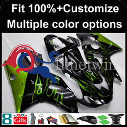yamaha r1 blue fairings Canada - Injection mold green flames black motorcycle cowl for Yamaha YZFR1 2000-2001 00 01 YZF R1 2000 2001 00-01 ABS Plastic Fairing