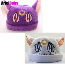 Sombrero Blanco Del Animal Del Gato Baratos-Nuevo Sailor Moon Cat Purple Luna Blanco Artemis Caliente Anime Cartoon Plush Hat Trajes Cosplay Cap Juguetes para Adultos Adolescentes
