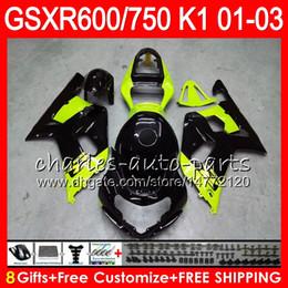 8 Geschenke 23 Farben Körper für SUZUKI GSX-R600 GSXR600 GSXR750 01 02 03 8HM45 GSX R600 R750 K1 glänzend schwarz GSXR 750 600 2001 2002 2003 Verkleidung