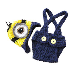 minion shorts NZ - Handmade Knitted Crochet One Eye Minion Costume,Baby Boy Girl Cartoon Minion Hat and Shorts Set,Infant Halloween Photo Prop,Baby Shower Gift