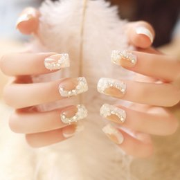 Barato Dicas Curtas De Unhas Falsas-Hot Twilight False Nails Sailor 24 Packed Fake Nails Bride Nail Patch Café Gold Diamond Short Shorts Café Estilo de moda