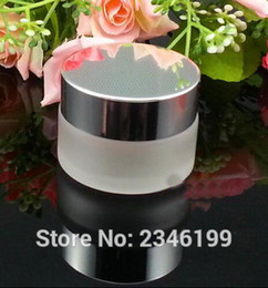 gold cream jars 2018 - Wholesale- 30G 30ML Glass Cream Jar, Frost Glass Jar with Silver Cap, Black And Gold Color Lid, Glass Cosmetics Packing