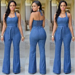 Barato Penteado Para Mulheres-Casual Jean Jumpsuits 2017 New Style Moda Long Denim Pants Rompers Halter Pescoço sem mangas Leisure Women Jeans Cheap FS1741