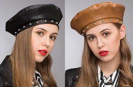 Fallen Hats Australia - Stand Focus Women Faux Leather Studs French Beret Painter Flat Baker Boy Hat Newsboy Cap Ladies Fashion Fall Winter Black Brown Stylish Cool