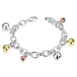 Silver Falls Australia - top sale Color falling beads 925 silver charm bracelet 8inchs EMB430,women's sterling silver plated jewelry bracelet