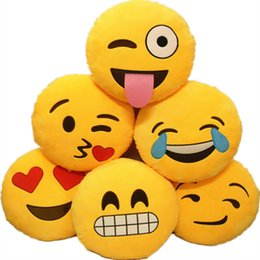 China Bed Home Office Car Emoji Smiley Smile Emoticon Yellow Round Cushion Pillow Stuffed Plush Doll Soft Toy 1pc cheap soft toys smileys suppliers
