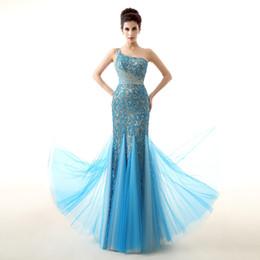 Crystal Back Beaded Evening Dresses Canada - One Shoulder Blue prom dresses long Crystal Beaded mermaid prom dresses Sheer Back elegant evening dresses