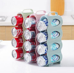 Beverage Cans Canada - Easy To Use Saving Space Cans Finishing Shelf Box Kitchen Supply Hand Pull 4 Section Refrigerator Filling Beverage Storage Box CCA6397 50pcs