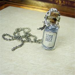 Necklace bottles cork online shopping - 12pcs Stardust necklace Fairy Tale Star Charm Cork glass Bottle Pendant jewelry