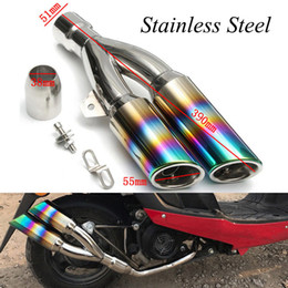 Street Dirt Bikes Canada - 38-51mm Universal Motorcycle Exhaust Muffler Pipe With DB Killer Modified Scooter Dirt Street Bike Motorcycle Stainless Steel Exhaust System