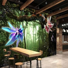 Discount fairy photo background - Custom Photo Wallpaper 2D Fresco Sticker Tree Elf Mysterious Forest Fairy World 3D Background Wall papel de parede