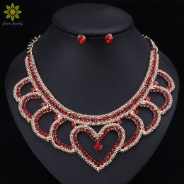 $enCountryForm.capitalKeyWord NZ - African Beads Jewelry Sets Trendy Necklace With Earring Silver Metal Choker Red Crystal Heart Shaped Necklace Earrings For Women