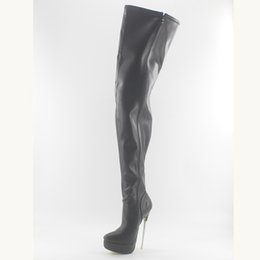 4d628abe8 Wonderheel hot black matte 18cm spike heel sexy fetish women thigh high  boots soft leather fashion platform crotch boots