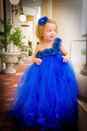 Vestidos De La Flor Del Azul Real De Los Cabritos Baratos-Lovely Tulle Azul Royal Flower Girls Vestidos Para Bodas Puffy First Communion Vestido Un hombro Girl Pageant Gowns Niños Formal Wear