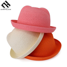 $enCountryForm.capitalKeyWord Australia - Wholesale- Fashion Children Straw Caps Baby Ears Decoration Character Lovely Sun Hat Kids Solid Beach Hats For Girls and Boys Summer Hats