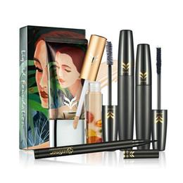 Опт HUAMIANLI 4 шт. полный комплект для макияжа / тушь для ресниц Фонд корректор и подводка для глаз профессиональная Иллюстрация стиль полный макияж Kit наборы